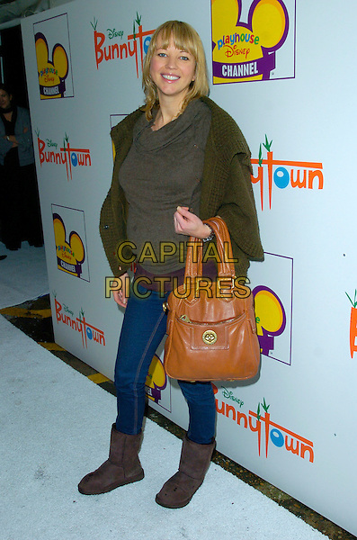 SARA COX.At The Playhouse Disney Celebrity Christmas Party, Covent Garden Film Studios, London, England, December 2nd 2007..full length pregnant brown Marc Jacobs bag Ugg boots jeans .CAP/CAN.©Can Nguyen/Capital Pictures