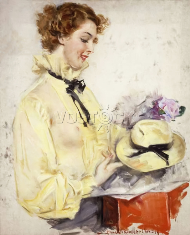 A New Hat by Howard Chandler Christy (1873-1952). Oil on canvas. Private Collection.