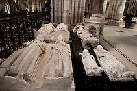 Gisants of Henry I (1008 - 1060), Louis VI, called the Fat (1080 - 1137), Constance of Arles (984 - 1032) and Robert the Pious (970 - 1031), stone, circa 1263, commissionned by Saint Louis, John I the Posthumous (15 November - 20 November 1316), son of Louis X and Clementia of Hungary, Jeanne of France (1311 - 1349), daughter of Louis X and Margaret of Burgundy, marbles, 14th century, Louis X, called the Quarreller, the Headstrong or the Stubborn (1289 - 1316), marble, circa 1327, Abbey church of Saint Denis, Seine Saint Denis, France. Picture by Manuel Cohen