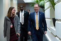 United States Representative Adam Schiff (Democrat of California) arrives to the weekly Democratic caucus meeting at the United States Capitol in Washington D.C., U.S. on Tuesday, February 11, 2020.  <br /> <br /> Credit: Stefani Reynolds / CNP/AdMedia