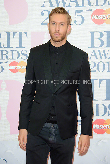 WWW.ACEPIXS.COM<br /> <br /> February 25 2015, London<br /> <br /> Calvin Harris arriving at the Brit awards 2015 at the O2 Arena on February 25 2015 in London<br /> <br /> By Line: Famous/ACE Pictures<br /> <br /> <br /> ACE Pictures, Inc.<br /> tel: 646 769 0430<br /> Email: info@acepixs.com<br /> www.acepixs.com