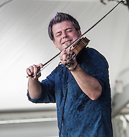 Steve Riley and the Mamou Playboys perform at the 2014 Jazz and Heritage Festival in New Orleans, LA.