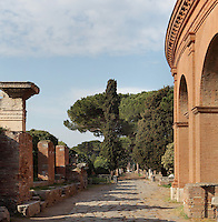 Decumanus Maximus, main street running from east to west, with 1st century BC theatre on the right, Ostia Antica, Italy. Picture by Manuel Cohen