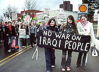 Stop the War Demonstration (IRAQ).Birmingham.England.UK.2.3.03.Young teenage women protest against the war in Iraq.