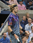 September 6,2017:   Andrey Rublev (RUS loses to Rafael Nadal (ESP) 6-1, 6-2, 6-2 at the US Open being played at Billy Jean King Ntional Tennis Center in Flushing, Queens, New York.  ©Leslie Billman/EQ