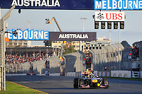 MELBOURNE, 27 MARCH - Sebastian Vettel (Germany) driving the Red Bull Racing car (1) crosses the finish line to win the 2011 Formula One Australian Grand Prix at the Albert Park Circuit, Melbourne, Australia. (Photo Sydney Low / syd-low.com)