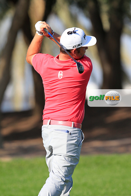Andy SULLIVAN (ENG) plays his 2nd shot on the 13th hole during Pink Friday's Round 2 of the 2015 Omega Dubai Desert Classic held at the Emirates Golf Club, Dubai, UAE.: Picture Eoin Clarke, www.golffile.ie: 1/30/2015
