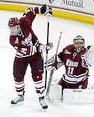 Kevin Kessler (UMass - 24), Paul Dainton (UMass - 31) - The Boston College Eagles defeated the University of Massachusetts-Amherst Minutemen 2-1 (OT) on Friday, February 26, 2010, at Conte Forum in Chestnut Hill, Massachusetts.