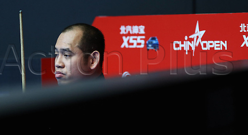 29.03.2016. Beijing, China,  Dechawat Poomjaeng of Thailand reacts during the match against Ryan Day of Britain at the 2016 World Snooker China Open in Beijing, China, March 29, 2016.