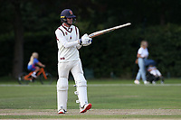 Will Buttleman of Brentwood raises his bat to celebrate reaching his fifty during Brentwood CC vs Wanstead and Snaresbrook CC, Essex Cricket League Cricket at The Old County Ground on 12th September 2020