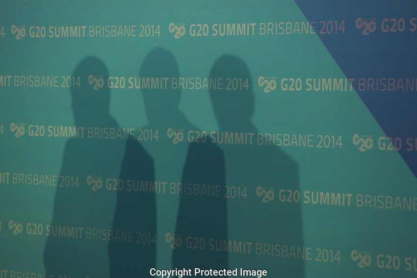 The Lord Mayor of Brisbane Graham Quirk speaks at a press conference in the IMC during the G20 Leaders' Summit in Brisbane. <br /> Photograph by Steven Christo/G20 Australia
