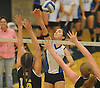 Long Beach No. 7 Gabby Ayzenberg attempts to spike during the Nassau County varsity girls' volleyball Class A final against Wantagh at SUNY Old Westbury on Wednesday, Nov. 11, 2015. Wantagh won 3-0.<br /> <br /> James Escher