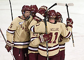 Michael Matheson (BC - 5), Bill Arnold (BC - 24), Steven Whitney (BC - 21), Pat Mullane (BC - 11), Johnny Gaudreau (BC - 13) - The Boston College Eagles defeated the visiting University of Vermont Catamounts to sweep their quarterfinal matchup on Saturday, March 16, 2013, at Kelley Rink in Conte Forum in Chestnut Hill, Massachusetts.