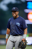 Mobile BayBears first baseman Jhoan Urena (14) during a Southern League game against the Jacksonville Jumbo Shrimp on May 28, 2019 at Baseball Grounds of Jacksonville in Jacksonville, Florida.  Mobile defeated Jacksonville 2-1.  (Mike Janes/Four Seam Images)