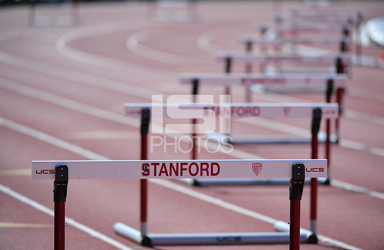 Stanford, Ca - Friday March 31, 2017: Hurdles at the Stanford Invitational at Cobb Field.