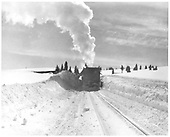 Front view of D&amp;RGW Jordan spreader OU plowing snow in Cumbres.<br /> D&amp;RGW  Cumbres, CO  2/1929