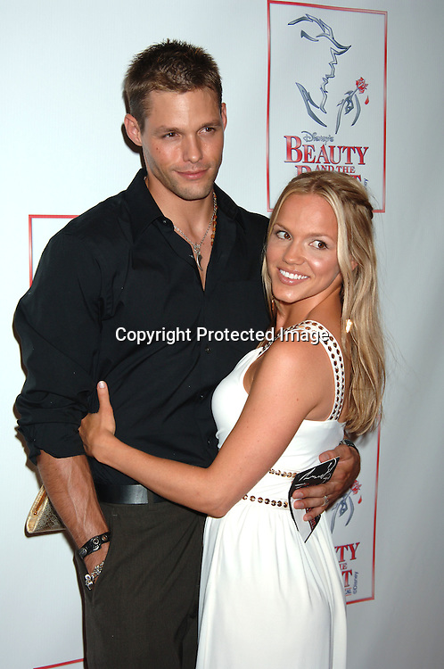 """Justin Bruening, Alexa Havins..at The 5000th performance of """"Beauty and The Beast""""..on June 20, 2006 at The Lunt-Fontanne Theatre...Jacob Young of All My Children is starring as Lumiere. ..Robin Platzer, Twin Images"""