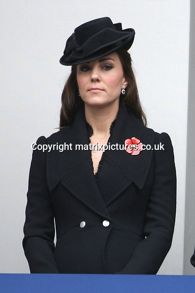 NON EXCLUSIVE PICTURE: PAUL TREADWAY / MATRIXPICTURES.CO.UK<br /> PLEASE CREDIT ALL USES<br /> <br /> WORLD RIGHTS<br /> <br /> Catherine, Duchess of Cambridge attends the annual Remembrance Sunday Service at the Cenotaph on Whitehall in London.<br /> <br /> NOVEMBER 9th 2014<br /> <br /> REF: PTY 144725