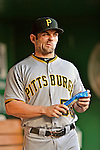 17 May 2012: Pittsburgh Pirates catcher Michael McKenry stands in the dugout prior to a game against the Washington Nationals at Nationals Park in Washington, DC. The Pirates defeated the Nationals 5-3 in the second game of their 2-game series. Mandatory Credit: Ed Wolfstein Photo