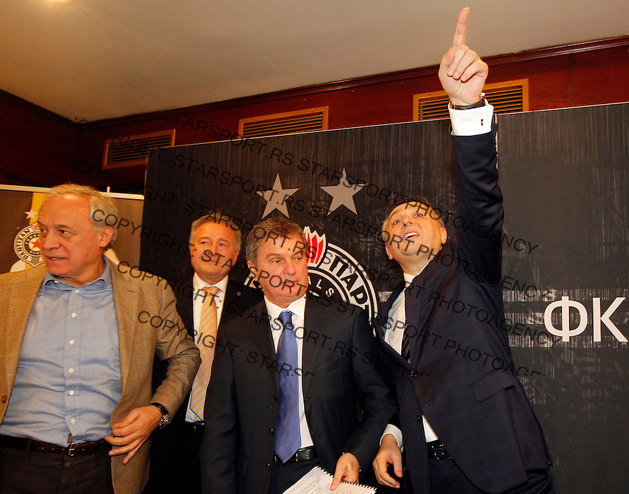Fudbal season 2014-2015<br /> FK Partizan-Izborna Skupstina 2014<br /> from left Milorad Vucelic Gligorijevic Ljubisa Tumbakovic and Zoran Popovic Predsednik FK Partizan<br /> Beograd, 25.12.2014.<br /> foto: Srdjan Stevanovic/Starsportphoto&copy;