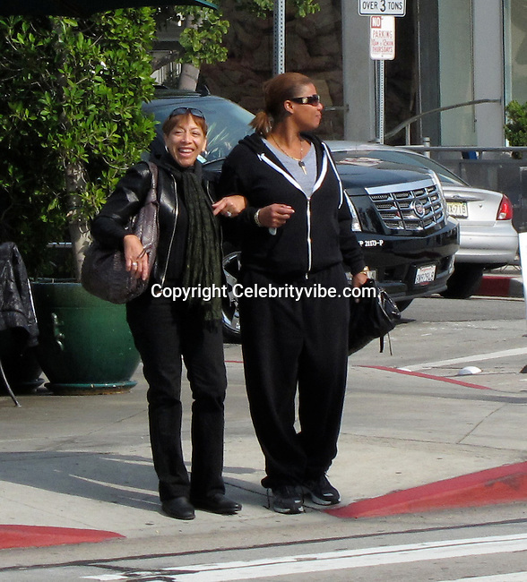 **EXCLUSIVE**.Queen Latifah and Mother, Rita Owens..Urth Café Restaurant..Beverly Hills, CA, USA..Monday, February 01, 2010..Photo By Celebrityvibe.com.To license this image please call (212) 410 5354; or Email: celebrityvibe@gmail.com ; .website: www.celebrityvibe.com.