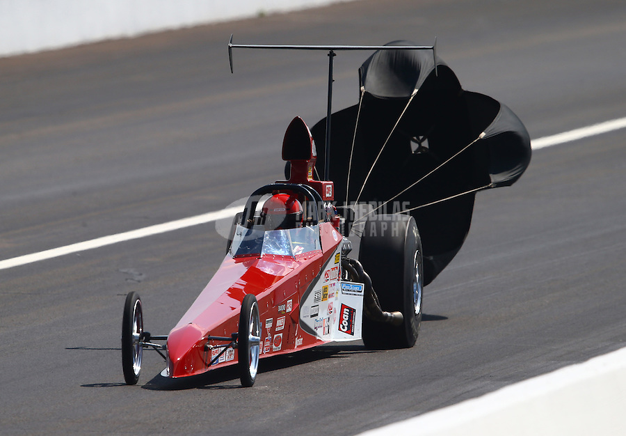 Aug. 30, 2013; Clermont, IN, USA: NHRA comp eliminator driver XXXX during qualifying for the US Nationals at Lucas Oil Raceway. Mandatory Credit: Mark J. Rebilas-