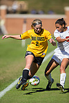 Riley Ridgik (2) of the Wake Forest Demon Deacons battles for the ball with Alana O'Neill (5) of the Syracuse Orange at Spry Soccer Stadium on October 26, 2014 in Winston-Salem, North Carolina.  The Demon Deacons and the Orange played to a 0-0 tie.   (Brian Westerholt/Sports On Film)