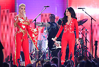 "Katy Perry, left, and Kacey Musgraves perform ""Here You Come Again"" at the 61st annual Grammy Awards on Sunday, Feb. 10, 2019, in Los Angeles. (Photo by Matt Sayles/Invision/AP)"