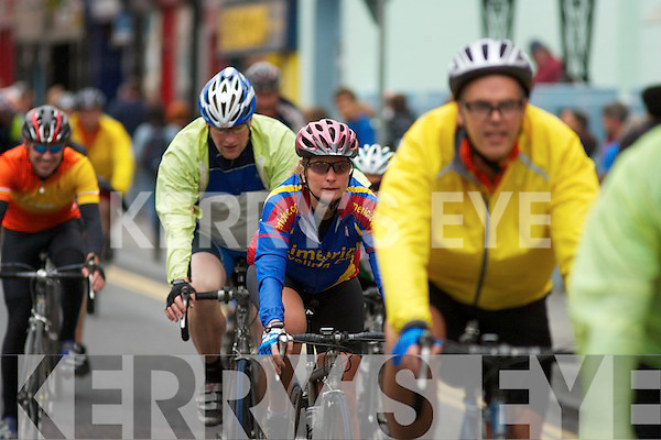 BIKERS: Kerry competitors in the Tour de Munster Charity Cycle who met the Roses at Fels Point Hotel after arriving in Tralee on Friday evening.