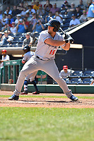 Tim Tebow (15) of the Binghamton Rumble Ponies bats during a game against the Hartford Yard Goats at Dunkin Donuts Park on May 9, 2018 in Hartford, Connecticut.<br /> (Gregory Vasil/Four Seam Images)