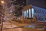 Night photo of the Old courthouse downtown Dayton Ohio with holiday lights