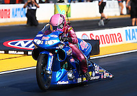 Jul. 25, 2014; Sonoma, CA, USA; NHRA pro stock motorcycle rider Angie Smith during qualifying for the Sonoma Nationals at Sonoma Raceway. Mandatory Credit: Mark J. Rebilas-