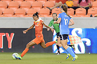 Houston, TX - Friday April 29, 2016: Poliana (2) of the Houston Dash takes a shot at the Sky Blue FC at BBVA Compass Stadium. The Houston Dash tied Sky Blue FC 0-0.