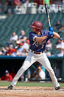 Frisco RoughRiders Preston Beck (8) bats during a Texas League game against the Springfield Cardinals on May 5, 2019 at Dr Pepper Ballpark in Frisco, Texas.  (Mike Augustin/Four Seam Images)