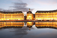 Place de la Bourse. The new fountain Miroir d'Eau, Water Mirror, making reflections. Bordeaux city, Aquitaine, Gironde, France