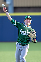 Eastern Michigan Eagles outfielder Shane Easter (1) warms up between innings during the NCAA baseball game against the Michigan Wolverines on May 8, 2019 at Ray Fisher Stadium in Ann Arbor, Michigan. Michigan defeated Eastern Michigan 10-1. (Andrew Woolley/Four Seam Images)