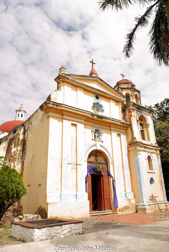 La Iglesia de Cristo de Buen Viaje on the main square of  La Antigua, Veracruz, Mexico. The village of La Antigua dates back to 1525. Hernan Cortes reportedly scuttled his ships here before marching inland to conquer the Aztecs.