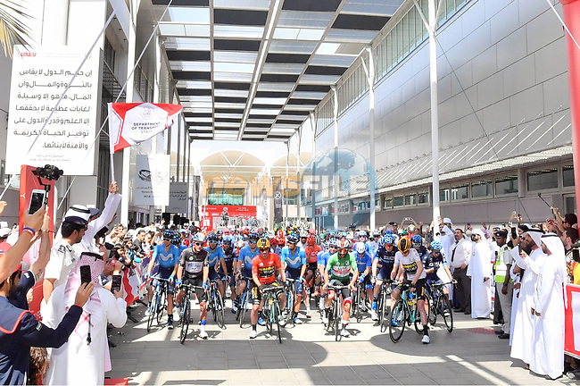 Ready to start of Stage 3 of the 2019 UAE Tour, running 179km form Al Ain to Jebel Hafeet, Abu Dhabi, United Arab Emirates. 26th February 2019.<br /> Picture: LaPresse/Massimo Paolone | Cyclefile<br /> <br /> <br /> All photos usage must carry mandatory copyright credit (© Cyclefile | LaPresse/Massimo Paolone)