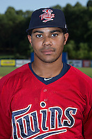 Elizabethton Twins outfield LaMonte Wade (26) poses for a photo prior to the game against the Kingsport Mets at Hunter Wright Stadium on July 9, 2015 in Kingsport, Tennessee.  The Twins defeated the Mets 9-7 in 11 innings. (Brian Westerholt/Four Seam Images)