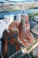 Portland: Koin Center--rendering. Willamette River in background. Reference only.