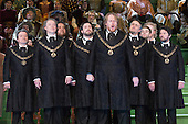"""London, UK. 30 January 2015. Iain Paterson as Hans Sachs at the centre. Richard Wagner's opera """"The Mastersingers of Nuremberg"""" (Die Meistersinger von Nuernberg) is performed live on stage during the dress rehearsal with English National Opera Music Director Edward Gardner leading the ENO Orchestra and Chorus. Directed by Richard Jones with with leads played by Gwyn Hughes Jones as Walter von Stolzing, Rachel Nicholls as Eva Pogner, Madeleine Shaw as Magdalene, Nicky Spence as David (Hans Sachs' apprentice), Iain Paterson as Hans Sachs, Andrew Shore as Sixtus Beckmesser and James Creswell as Veit Pogner. The opera will run for 8 performances at the London Coliseum from 7 February 2015. Photo: Bettina Strenske"""