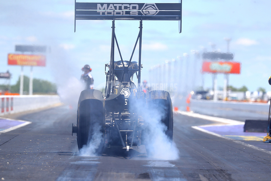 Apr 23, 2017; Baytown, TX, USA; NHRA top fuel driver Antron Brown during the Springnationals at Royal Purple Raceway. Mandatory Credit: Mark J. Rebilas-USA TODAY Sports
