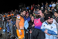 Jaguares' Juan Manuel Leguizamon with fans after the 2019 Super Rugby final between the Crusaders and Jaguares at Orangetheory Stadium in Christchurch, New Zealand on Saturday, 6 July 2019. Photo: Dave Lintott / lintottphoto.co.nz