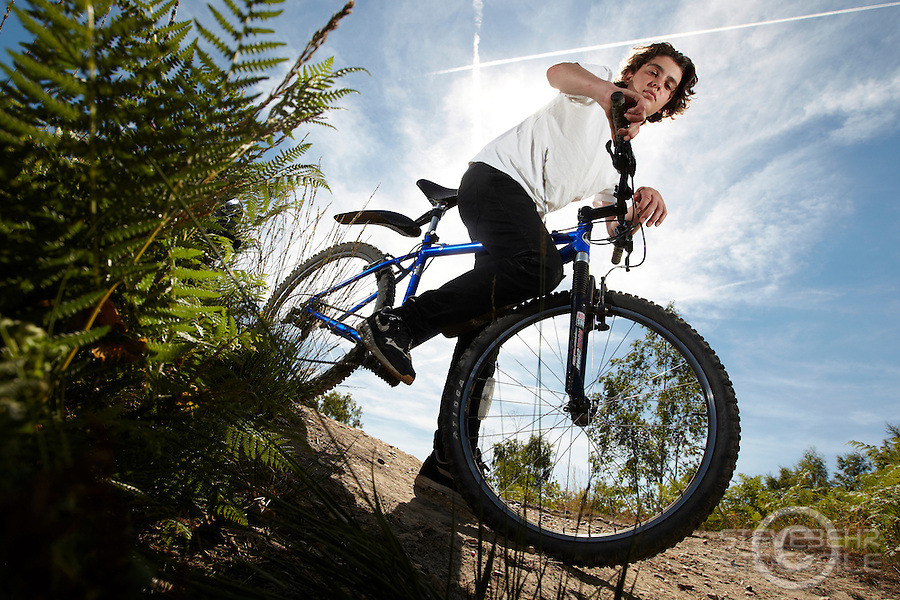 Josh Behr riding Kona mountain bike , Chobham Common, Surrey.   September    2013.      pic copyright Steve Behr / Stockfile