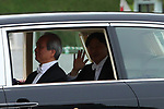 Japan's new Emperor Naruhito waves from his vehicle upon departing from the Imperial Palace in Tokyo, Japan on May 1, 2019, the first day of the Reiwa Era. (Photo by Yohei Osada/AFLO)