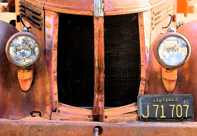 Digital art of a old rusty Diamond T dump truck, created from a original Photograph