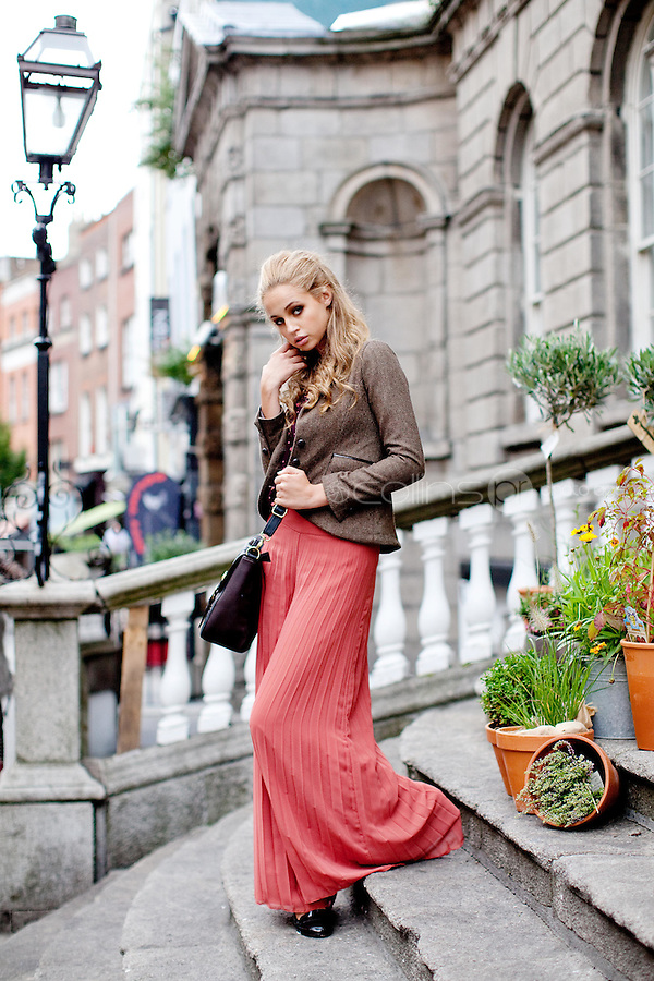 NO REPRO FEE. 31/8/2011. A|wear's new autumn '11 collection. Sarah Morrissey & Thalia Heffernan model a selection of dresses at the Powerscourt Town House Dublin. Thalia is pictured wearing Paisley frill top - EUR35, Pleated palazzo pant -EUR50, Heritage blazer - EUR60,Brown satchel - EUR30 and Belt - EUR8. The full range is available in all A|wear stores and online at www.awear.com now. Picture James Horan/Collins Photos