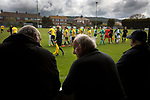 The two teams exchanging handshakes on the pitch at Mount Pleasant before Marske United (in yellow) take on Billingham Synthonia in a Northern League division one fixture. Formed in 1956 in Marske-by-the-Sea, the home club had secured automatic promotion to the Northern Premier League two days before and were in the midst of a run of six home games in 10 days as they attempted to overtake Morpeth Town to win the league. They won this match 6-1 against already relegated Billingham, watched by a crowd of 196.