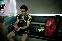 Simon Yates (GBR/Mitchelton-Scott) diving into a package of Haribo's on the teambus at the finish line in Nîmes<br /> <br /> Stage 16: Nîmes to Nîmes (177km)<br /> 106th Tour de France 2019 (2.UWT)<br /> <br /> ©kramon