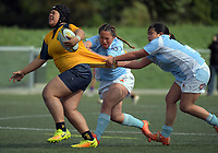 Action from the 2017 Hurricanes Secondary Schools Under-15 Girls' Rugby Tournament match between Ngati Porou East Coast and Wellington East Girls' College at Wakefield Park in Wellington, New Zealand on Tuesday, 5 September 2017. Photo: Dave Lintott / lintottphoto.co.nz